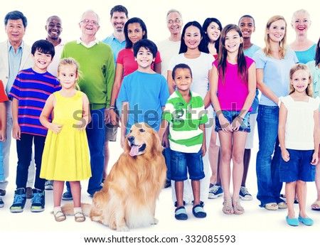 Multi-ethnic group of mixed age people together family Concept - stock photo
