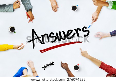 Multi-Ethnic Group of People and Answers Concepts - stock photo