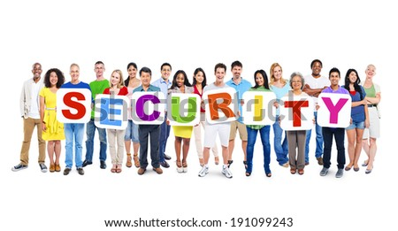 Multi-Ethnic Group Of People Holding Alphabet To Form Security - stock photo