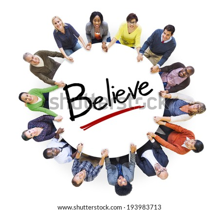 Multi-Ethnic Group of People Holding Hands and Belief Concept - stock photo