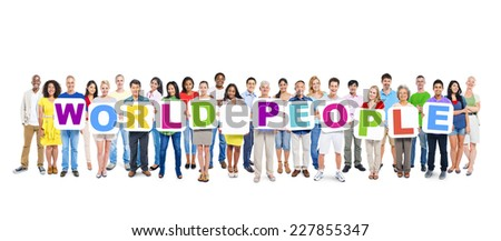 Multi-ethnic group of people holding 11 letters and 12 placards forming world people. - stock photo