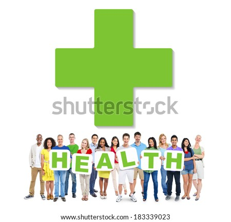 Multi-Ethnic Group Of People Holding The Word Health - stock photo