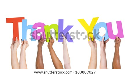 Multi-Ethnic Group Of People Holding The Word Thank You - stock photo