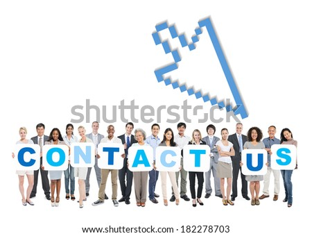 Multi-Ethnic Group Of People Holding The Words Contact Us - stock photo