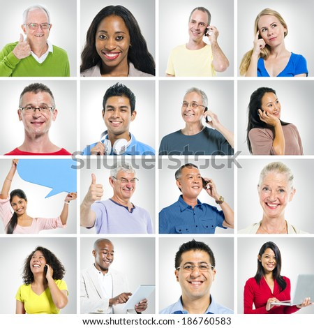 Multi-Ethnic Group Of People Social Networking And Expressing Positivity - stock photo