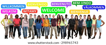 Multi ethnic group of smiling young people saying welcome in different languages - stock photo