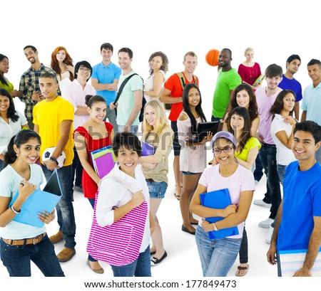Multi-ethnic Group of Students - stock photo