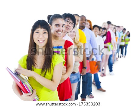 Multi-ethnic Group of Students Standing in a Line - stock photo