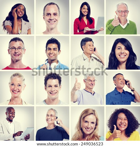 Multi Ethnic People Community Communication Concept - stock photo