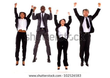 multi-ethnic team rejoiced - stock photo