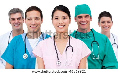 Multi-etnic medical team in hospital - stock photo