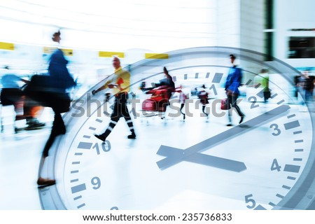 multi exposure picture with time concept of traveling people in motion blur at an airport with a clock face - stock photo