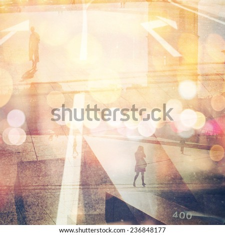 Multi exposure retro style photo. Grain, blur and bleach added as vintage effect. - stock photo