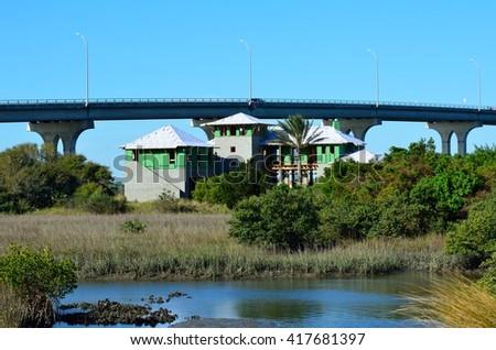Multi family home construction on the marshland of North Florida, USA. - stock photo