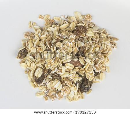 Multi fruits muesli organic cereals food on white backgroun - stock photo
