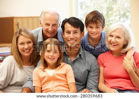 Multi-generation family portrait - stock photo