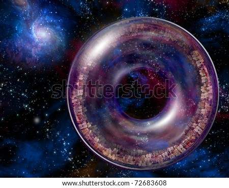 Multi-Generational Interstellar Ship in the Expanse of Space - stock photo