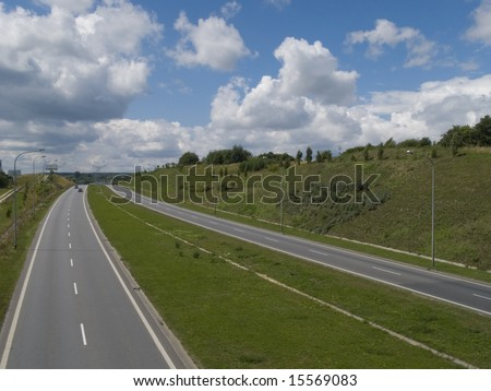 multi lane express road - stock photo