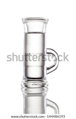 Multi-layered alcohol shot isolated on white - stock photo