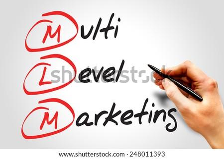 Multi level marketing (MLM), business concept acronym - stock photo