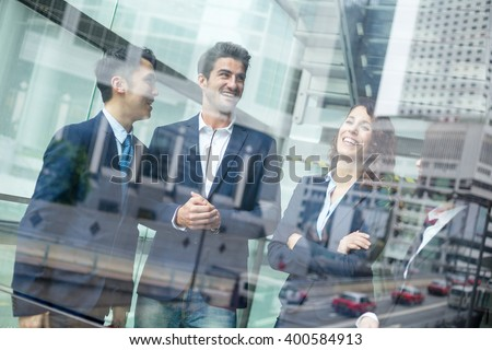 Multi Nationality of business people talk to each other - stock photo
