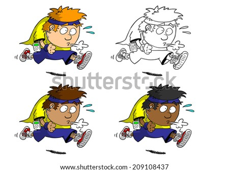 Multi racial man jogging with music player - stock photo
