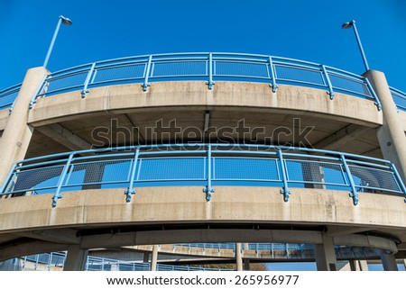 multi-storey pedestrian bridge, symbol of infrastructure, connection, pedestrians, traffic safety - stock photo