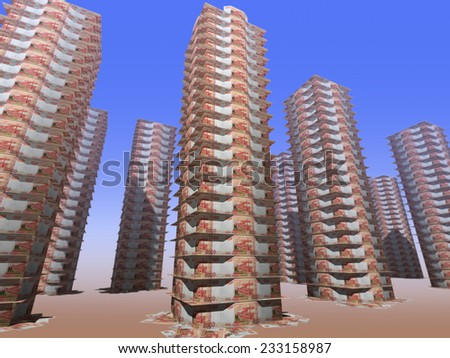 Multi-storey town houses, built of banknotes 5,000 rubles  - stock photo