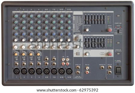 Multichannel sound mixer console board isolated with clipping path - stock photo