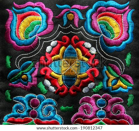 multicolor ethnic hand embroidery pattern  - stock photo