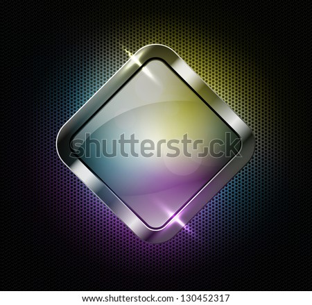 Multicolor glass banner on a perforated metallic background, raster copy of vector file - stock photo
