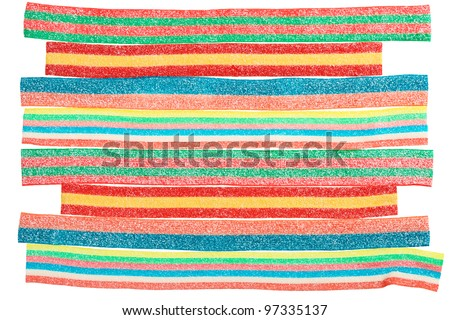 Multicolor gummy candy (licorice) sweets closeup food background - stock photo