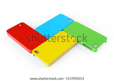 MultiColor plastic mobile phone cases on a white background - stock photo