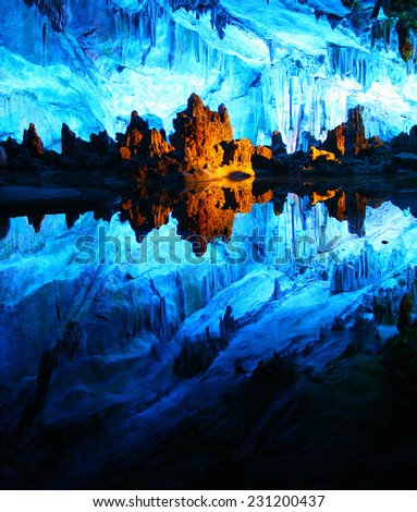 Multicolor Reed Flute cave in Guilin, Guangxi province of China - stock photo