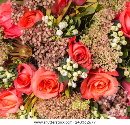 multicolor roses bouquet - stock photo