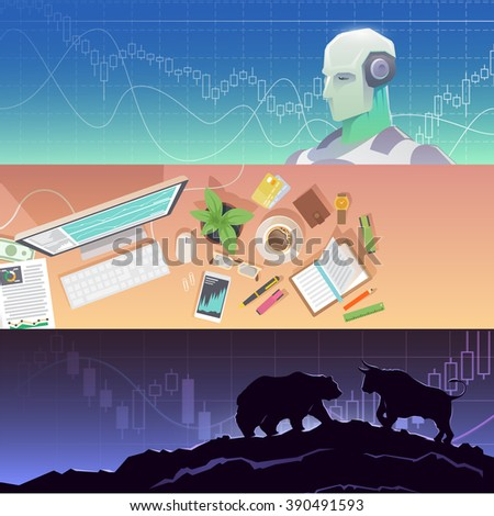 Multicolor stock exchange trading set of web banners. Equity market. World economy major trends. Modern flat design. Forex trading robot. Business school. Bulls or Bears. - stock photo