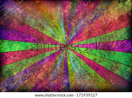 Multicolor Sunbeams grunge background. A vintage poster - stock photo