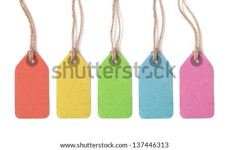 Multicolor tags isolated on white background - stock photo