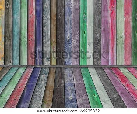 Multicolor wooden interior - stock photo