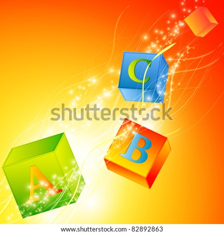 multicolored abc cubes over magic background - stock photo