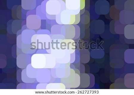 Multicolored abstract mosaic of rounded squares like city lights on an urban grid, overlapping for illusion of three dimensions - stock photo