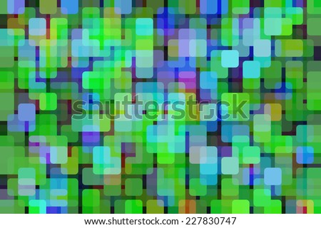 Multicolored abstract of city lights at dusk, with rounded squares overlapping for illusion of three dimensions - stock photo