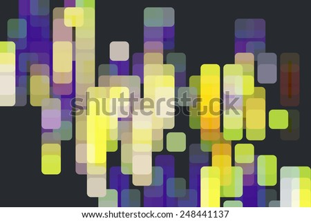 Multicolored abstract of overlapping rounded squares, like a grid of city lights, on black - stock photo