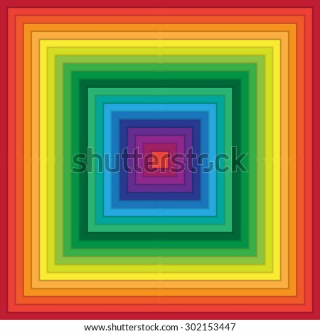 Multicolored abstract squares within square with rippling effect