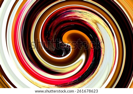 Multicolored abstract swirl, white, orange, brown, black - stock photo