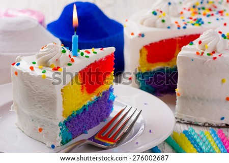 Multicolored Birthday Cake with Colorful Sprinkles - stock photo