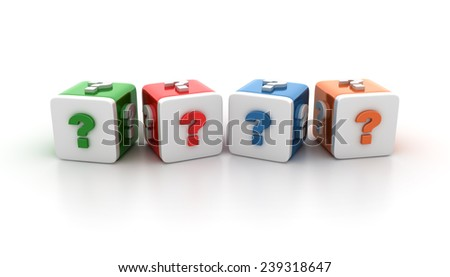 Multicolored Blocks With Question Mark Orthographic Signs on White Background. Reflections and Shadows.  High Quality 3D Rendering - stock photo
