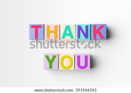 multicolored blocks with thank you written on them, on white background. copy space available - stock photo