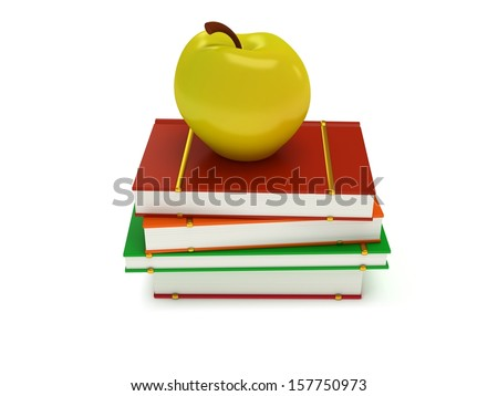 Multicolored book tower with yellow apple on the top, isolated on white background. 3d render of studying illustration. Back to school. - stock photo