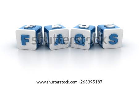 Multicolored Buzzword Blocks Spelling FAQS Text on White Background. Reflections and Shadows.  High Quality 3D Rendering - stock photo